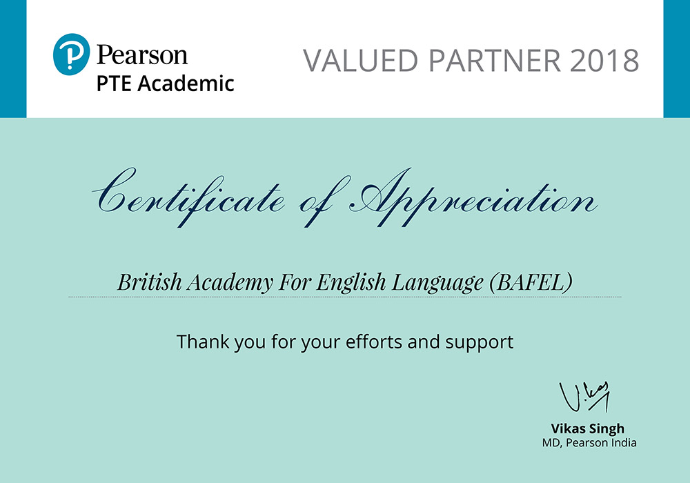 Certificate_PTE Academic Valued Partner (BAFEL)